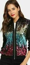 Ladies Glitter Sequin Bomber Jacket Top Biker Festival Clubbing Party Club Wear