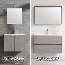 "Wall Mount Bathroom Vanity Wood Cabinet Set Undermount Resin Sink 24"" or 36"" New"