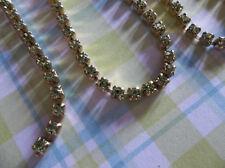 2mm Olivine Green Rhinestone Chain - Brass Setting - Czech Crystals