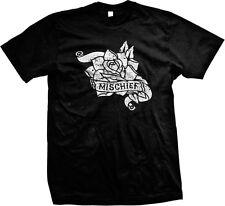Mischief Vintage Rose Flower Tattoo Biker Rebel Love Mens T-shirt