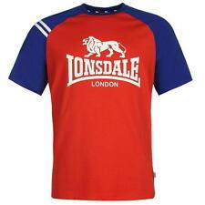 Para Hombre Rojo Raglán Lonsdale Mangas Cortas Escote Redondo Camiseta Top Talla S-3XL