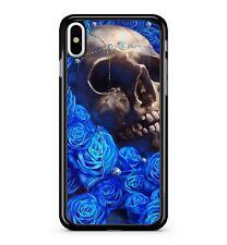 Ghostly Mystique Crâne égyptien Saphir Bleu Floral Roses 2D étui de téléphone