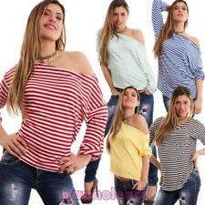 Suéter mujer rayas marinara camiseta mangas 3/4 pequeño bote cremallera CC-1191
