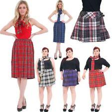 Ladies Girls Tartan Check Skater Pleated Buckled Kilt Skirt Plus Size Skirts