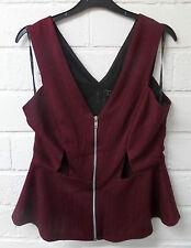 Women Ladies New Short Purple Stripe Cut Out Peplum Sleeveless Top/Blouse UK6-18