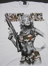 MARILYN MONROE T-shirt Camouflage Army Gun Graffiti Art Tattoo Tee White New