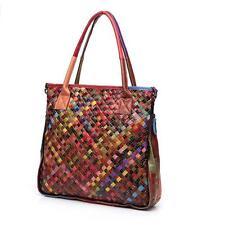 Hand-woven Genuine Cowhide Leather Women Satchel Handbag Hi-Q Purse Shoulder Bag