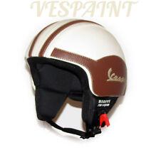 Casco Vespa Vintage personalizzato in pelle panna s,m,l,xl occhiali / visiera
