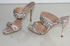 NEW Manolo Blahnik JENY Exotic MATTE PYTHON Slide Sandals Crystal JEWEL Shoes 40