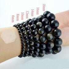 Au Choix!! Magnifique Bracelet en Perles d'Obsidienne Dorée Tailles 8/10/12/14mm
