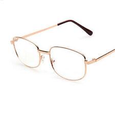 +1.0~+4.0 Rimmed Lens Men's Reading Glasses Gold Metal Frame Eyeglasses-New