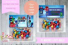 PERSONALISED BIRTHDAY PARTY LOOT BAG & TOPPER - PJ MASKS GEKKO OWLETTE CATBOY