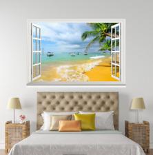 Beach Palm cielo olas 3D 27 ventanas abiertas impresión de pared de papel pintado wandbilder AJ Jenny