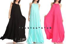 Boho Halter Pocket Maxi Dress Open Back Sundress Rayon Black White Fuchsia Pink