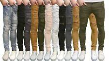 Soulstar diseño hombre elásticos de pitillo Motero Desgastado Pantalones