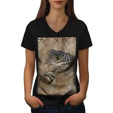 Lizard Face Nature Animal Women V-Neck T-shirt NEW | Wellcoda