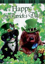 Morigins Green Hat Cat and Dog Shamrock Decor Happy St.Patrick's Day Garden Flag