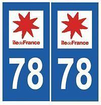 Autocollant plaque auto immatriculation Yvelines Département 78