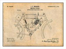 1902 Merkel Motorcycle Patent Print Art Drawing Poster 18 X 24