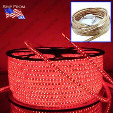 3ft-164ft 110V 3014 RED SMD 120 LED/M Strip Light IP68 Waterproof +AC Plug