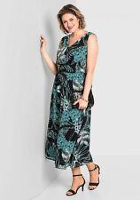 Kleid Gr.50+52+54 Abendkleid Maxikleid Schwarz Damen festlich Damen Sheego Blume