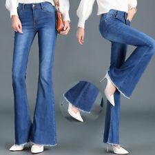 Women's Flare Denim Bootcut Jeans Bell Bottom Wide Leg Faded Pants Long Trousers