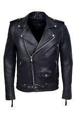 'BRANDO SLIM FIT' Men's BLACK Designer Fitted Real Lambskin Leather Biker Jacket