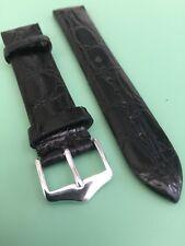 GENUINE CROCODILE Black Watch Strap With 2 Buckles & XL Option - Choice Of Sizes
