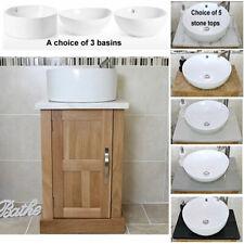 Solid Oak Bathroom Vanity Unit | Bathroom Slimline Cabinet | Stone Worktop Inc
