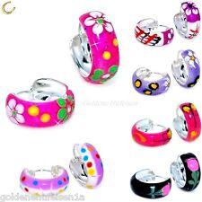 Blumen Creolen 925 Echt Silber Ohrringe Kinder Damen Geschenkidee Weihnachten M2