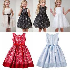 Flower Baby Girls Lace Bridesmaid Tutu Dress Kids Wedding Party Princess Dresses