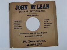 "78 rpm 10"" inch card gramophone record sleeve , JOHN McLEAN , glasgow"