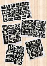 GLITTER TATTOO MIXED STENCIL PACKS BOYS & GIRLS SETS - reusable stencils