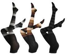 Damen Strumpfhose mit Blockstreifen, Baumwolle, warme Strickstrumpfhose
