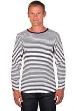 Ugholin Herren Baumwolle Weiß und Blau Gestreift Langarm T-Shirt
