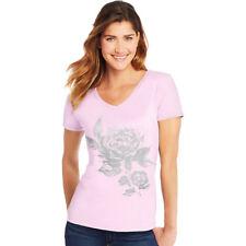 Hanes Women's Floral Semplice Short-Sleeve V-Neck Graphic Tee GT9337 Y07647