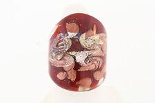 NWOT Venetiaurum Venetian Glass Murano Red Silver & Copper Glass Ring