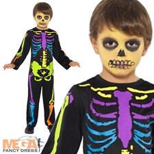 KID'S NEON RAGAZZI Scheletro Costume Halloween Bambino Costume Vestito Età 3-9 Anni