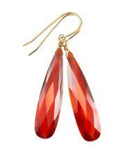 """14k Gold Cubic Zirconia Earrings Orange Sapphire CZ Long Large 2 """" Drop Sterling"""