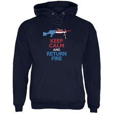 Keep Calm and Return Fire SAW Navy Adult Hoodie