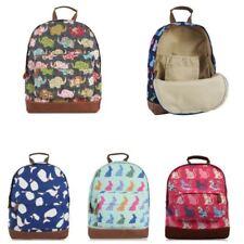 Women's Canvas Backpack Girls School Shoulder Bag Cat Dog Elephant Whale Print