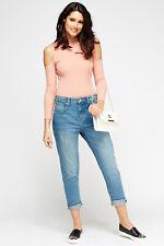 Womens Mango Blue Denim Boyfriend 3/4 Long Pocket Pants Distressed Capri Jeans 8