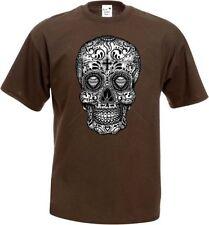 T shirt en coton avec un gothique Motif Motard & TATOUAGE MODÈLE CRÂNE mexicain