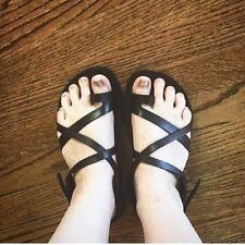 Women's Sandals Shoes Black Leather Biblical Sandal Jesus Thong Flip Flops 3-9.5