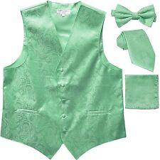 New Men's Paisley Tuxedo Vest Waistcoat & necktie & Bow tie & Hankie Aqua Green