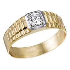 Goldmaid Herrenring  375 Gelbgold verbödet mit Struktur 1 Zirkonia Echtschmuck