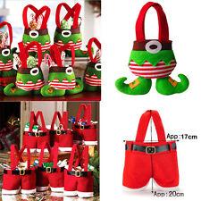 1/20 XMAS Party Gift Santa Pants Elf Spirit Candy Gift Bag Sack Stocking Filler