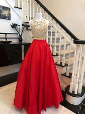 Red Beading Beaded Long Prom Dress Pageant FINE Rhinestone NEW 2/4/6/8/10