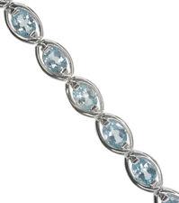 Sky Blue Topaz Gemstone Oval Eternity Adjustable Sterling Silver Bracelet
