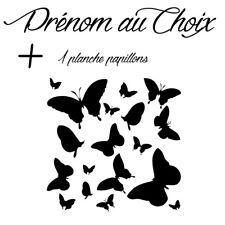 Sticker Décoration Prénom au Choix + Planche Papillons (15x15 cm à 30x30 cm)